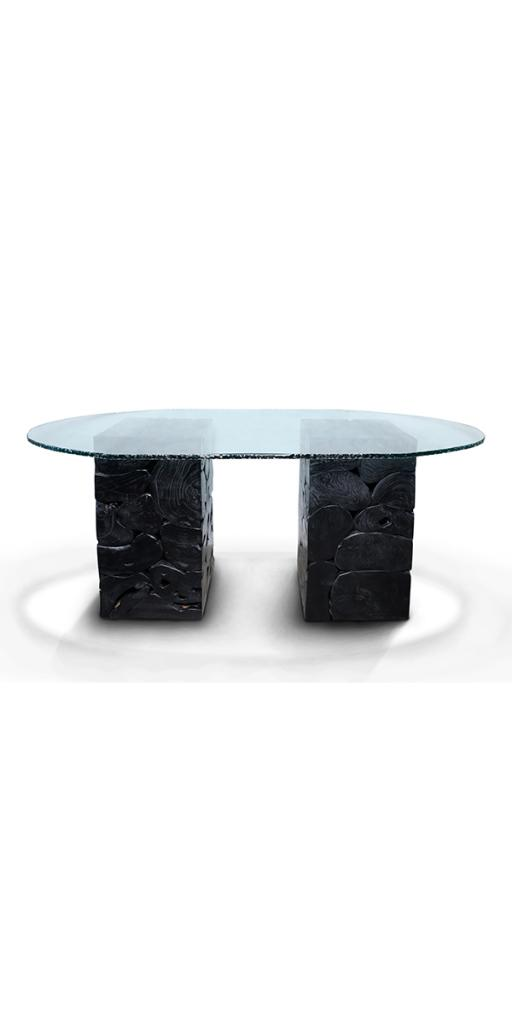TABLE VERRE PIEDS 1200